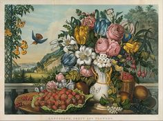Landscape, fruit, and flowers  Frances Flora Bond Palmer (July 24, 1812 – August 20, 1876), often referred to as Fanny Palmer, was an English artist who became successful in the United States as a lithographer for Currier and Ives.