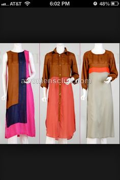 Stylish long kurtas! Indian Attire, Indian Ethnic Wear, Indian Dresses, Indian Outfits, Colour Combination For Dress, Casual Wear, Casual Dresses, Long Kurtas, Kurta Style