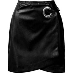 Sans Souci Black faux leather wrap mini skirt ($29) ❤ liked on Polyvore featuring skirts, mini skirts, bottoms, saias, fake leather skirt, wrap skirt, back zipper skirt and leather look mini skirt