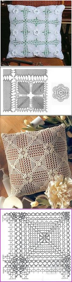 Learn to knit and Crochet with Jeanette: Crochet cushion patterns Crochet Cushion Pattern, Crochet Cushion Cover, Crochet Cushions, Crochet Diagram, Crochet Chart, Thread Crochet, Crochet Motif, Irish Crochet, Crochet Designs