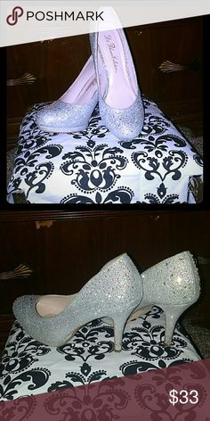 Sparkley silver heels with rhinestones These shoes are beautiful they give me life they have rhinestones focused on the back and the toe and some along the sides ive worn then two or three times de blossom collection  Shoes Heels