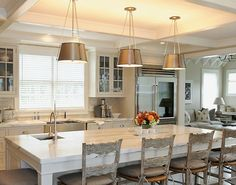 Design Chic: Coffered Ceilings...like bronze with white cabinets.