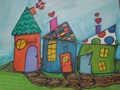 Whimsy Houses by Artist Lori MacMichael.some cottage art for your cottage! Cottage Art, House Quilts, House Drawing, Naive Art, Art Portfolio, Whimsical Art, Art Plastique, Elementary Art, Doodle Art