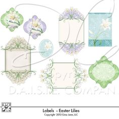 Easter Lily Graphics - Labels, Tags, Printable Easter Labels for Card Making and Crafts - Do It Yourself hand made - computer printed Easter Gift Tags and Frames. Gina Jane Designs - DAISIE Company