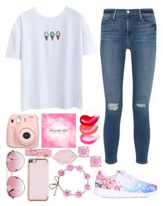 """Bubble gum cherry pop/RTD"" by omgg1233 ❤ liked on Polyvore featuring Frame Denim, Fujifilm, Minnie Rose, Ted Baker, NIKE, Big Bud Press and Kate Spade"