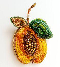 Брошь Абрикос💛💛💛...солнечный...вкусный...нежный...добрый...теплый...с характером Любви...для @studionebo •••… Bead Embroidery Jewelry, Beaded Embroidery, Beaded Jewelry, Beaded Necklace, Beaded Brooch, Brooch Pin, Crochet Earrings, Beaded Flowers, Bead Art