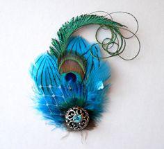 Peacock Hair Clip Fascinator Wedding Bridal by STAROSECREATIONS, $30.00