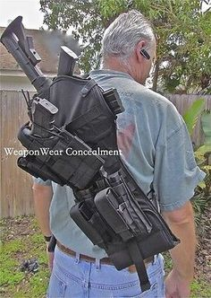 Tactical Scabbard for AR-15 Rifle Black Pistol & Double Mag Pouch Gun Case