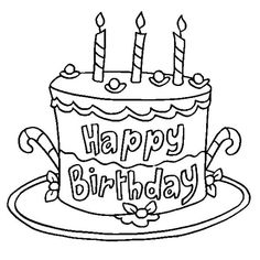 happy birthday coloring pages cake