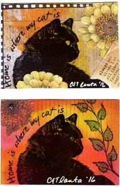 2016 ATC Art by CATlanta My cat, Zero.