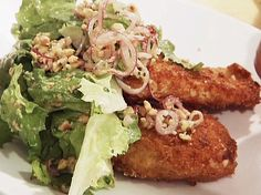 Chicken Milanese with Escarole Salad and Pickled Red Onions Recipe : Anne Burrell : Food Network - FoodNetwork.com