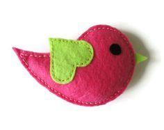 Broche-broche pájaro pin-fieltro fieltro fieltro broche pájaro broche-animales broche fieltro joyería-fieltro accesorios-Rosa Ave broche de fieltro