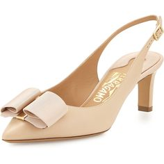 Salvatore Ferragamo Mimi Bow Slingback Pump ($685) ❤ liked on Polyvore featuring shoes, pumps, new bisque, salvatore ferragamo shoes, mid-heel shoes, mid-heel pumps, mid heel shoes and salvatore ferragamo pumps