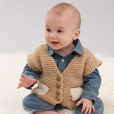 Baby will love this easy garter stitch vest with pockets. Click on the link in our profile for the #free #knitting pattern or search for LW4833 Easy Pocketed Vest on RedHeart.com.