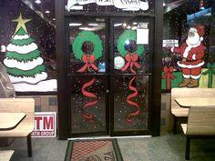 Christmas Lights Outside, Christmas Window Decorations, Christmas Window Display, Christmas Store, Christmas Art, Christmas Posters, Christmas Windows, Painted Window Art, Window Paint