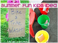 Even the little ones need their hot set of wheels washed! Try this Kids Trike and Bike Wash for some sudsy fun for the family or the whole neighborhood!