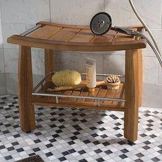 Spa Teak Shower Bench with Shelf. Frontgate.com