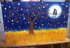 Enamorados Gatos mirando la luna en una noche muy clara, tranquila e iluminada por la luna y las estrellas.  Www.Miscuadritosdecolores.Blogspot.Com Arbol de la vida Técnica mixta. Mixmedia mixedmedia