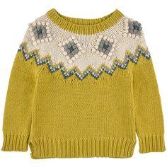 Loose stitch wool blend knit sweater - Mustard yellow