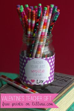 Super Cute Valentine's Teacher Gift - You're jus WRITE for me! #valentines
