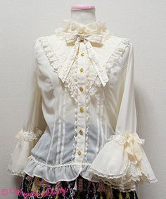 victorian-princess-sleeve-blouse  ivory black white pink