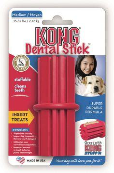 Hundespielzeug Kong Dental Stick - Vollgummi, zahnpflegend, befüllbar mit Snacks