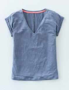 V-neck Linen Tee WO029 Short Sleeved Tops at Boden