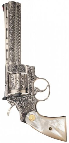 Cased Custom Engraved Colt Python Double Action Revolver with Pearl Grips. Revolver Tattoo, Revolver Pistol, Colt Python, Metal Engraving, Cool Guns, Airsoft Guns, Gravure, Firearms, Hand Guns