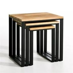 Set of 3 HIBA Solid Oak & Steel Nested Side Tables LA REDOUTE INTERIEURS .Three nested side tables in solid joined and oiled oak. Inspired by industrial furniture of yesteryear. Iron Furniture, Steel Furniture, Home Decor Furniture, Industrial Furniture, Rustic Furniture, Table Furniture, Furniture Design, Furniture Buyers, Industrial Lamps