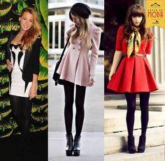 Meia calça preta de fio 80 + vestido para os dias mais frios.