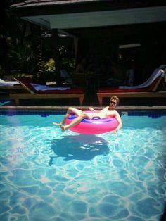 Luke leisuring in a pool in Las Vegas!