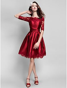 TS Couture® Prom  Cocktail Party Dress Plus Size / Petite Ball Gown Bateau Knee-length Satin with Appliques / Sash / Ribbon / Ruching – USD $ 225.00