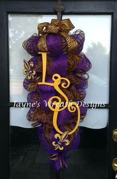 LSU door Swags & Wreaths   Jayne's Wreath Designs on Fb