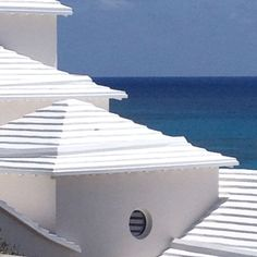 Bermuda roofs are limestone. They collect the water which is stored under the house. Bermudians use water sparingly.