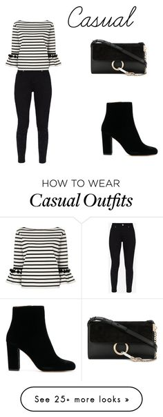 """""""Casual"""" by bellaurq on Polyvore featuring Ted Baker, Marc Jacobs, IRO, Chloé, casual, stripes, Heels, jeans and chole"""