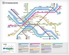 A fictional Pittsburgh subway or metro map. Used for the Pittsburgh 2050 project. Transport Map, Public Transport, Bus Route Map, Travel Baseball, Metro Map, Subway Map, Rapid Transit, Physical Environment, Corporate Identity Design