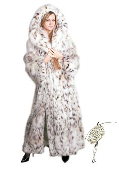 Long hooded lynx fur coat