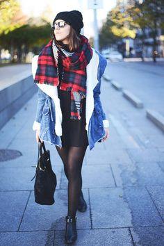 warm wool denim jacket, big red plaid scarf and a black beanie