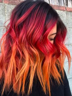 hot cheetos hair color - New Hair Styles Dyed Hair Ombre, Dyed Hair Purple, Dye My Hair, Fire Ombre Hair, Cool Hair Dyed, Dip Dyed Hair, Pretty Hair Color, Beautiful Hair Color, Ombre Hair Color