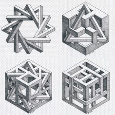Brilliant Draw A Glass Ideas. Exquisite Draw A Glass Ideas. Illusion Kunst, Illusion Drawings, 3d Drawings, Illusion Art, Escher Kunst, Mc Escher, Tatu 3d, Impossible Shapes, Isometric Drawing