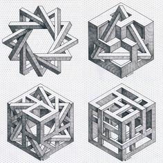 #collage #isometric #geometry #symmetry #handmade #mathart #escher #regolo54 #penrosetriangle #impossible #hexagon #oscareutersvärd