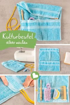 Plastikfreien Kulturbeutel selber nähen aus einem alten Handtuch Even beginners can quickly and easily sew a toiletry bag from an old towel – practically and without plastic. Sewing Hacks, Sewing Tutorials, Sewing Projects, Sewing Patterns, Cactus Wall Art, Cactus Print, Good Day Sunshine, Old Towels, Camping With Kids