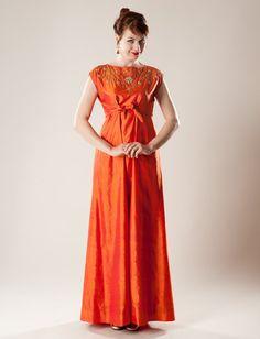 Vintage 1960s Orange Silk Dress  Empire Waist by unionmadebride - love the color, fabric, design