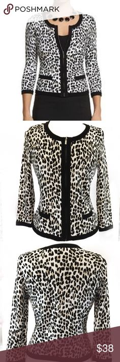 WHITE HOUSE BLACK MARKET ANIMAL PRINT CARDIGAN Great condition; No flaws; Shoulder to bottom hem: 20.5 inches; Bust: 34-36 inches; Shell: 81% Rayon, 19% Nylon ; Lining: 100% polyester; The second, third and the last pictures are that of the actual cardigan. White House Black Market Sweaters