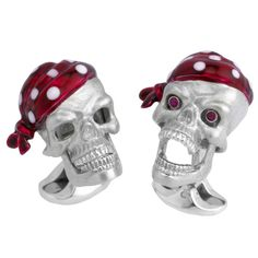 DEAKIN & FRANCIS Silver Pirate Skull Cufflinks with Ruby Eyes