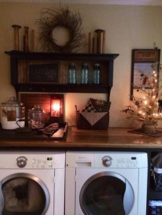 Country primitive laundry room. Oh my gosh, this is it! Mine in a large closet, but how sweet! I need it to be a little more functional but I love the feel!