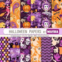 Halloween papers: HALLOWEEN DIGITAL PAPERS with by MashaStudio