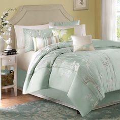 (Click to order - $169.99) Madison Park Athena 7 Piece Comforter Set - Blue - King From Madison Park