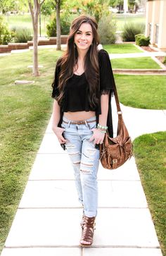 Aviators, boyfriend jeans, crop top, Bellami extensions, fringe cardigan, gladiator sandals