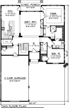 Ranch House Plan chp-52022 at COOLhouseplans.com
